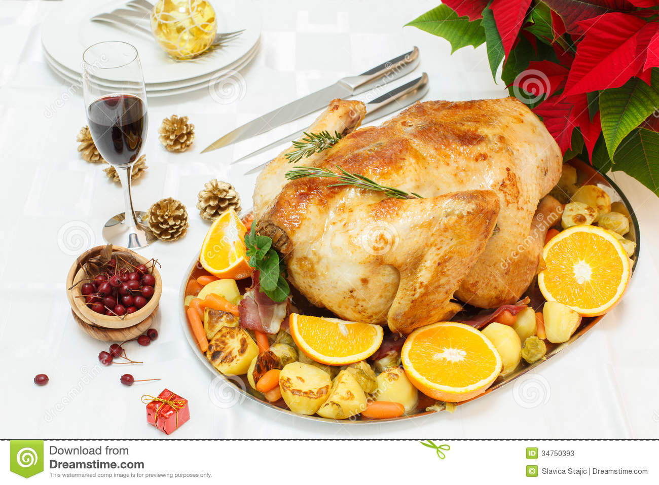 Delicious Roasted Turkey On Christmas Decorated Table