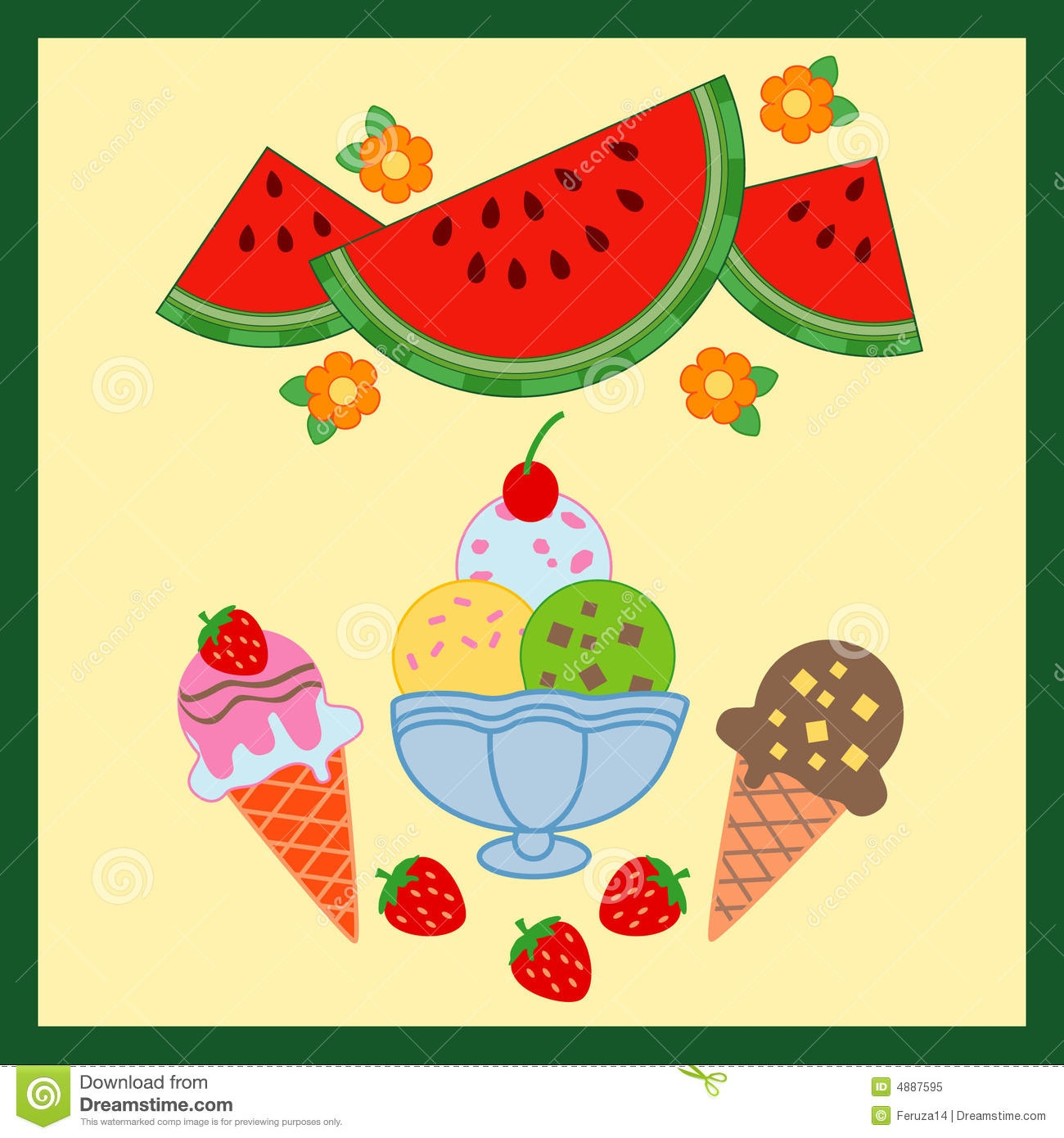 Delicious summer food stock vector. Illustration of ...