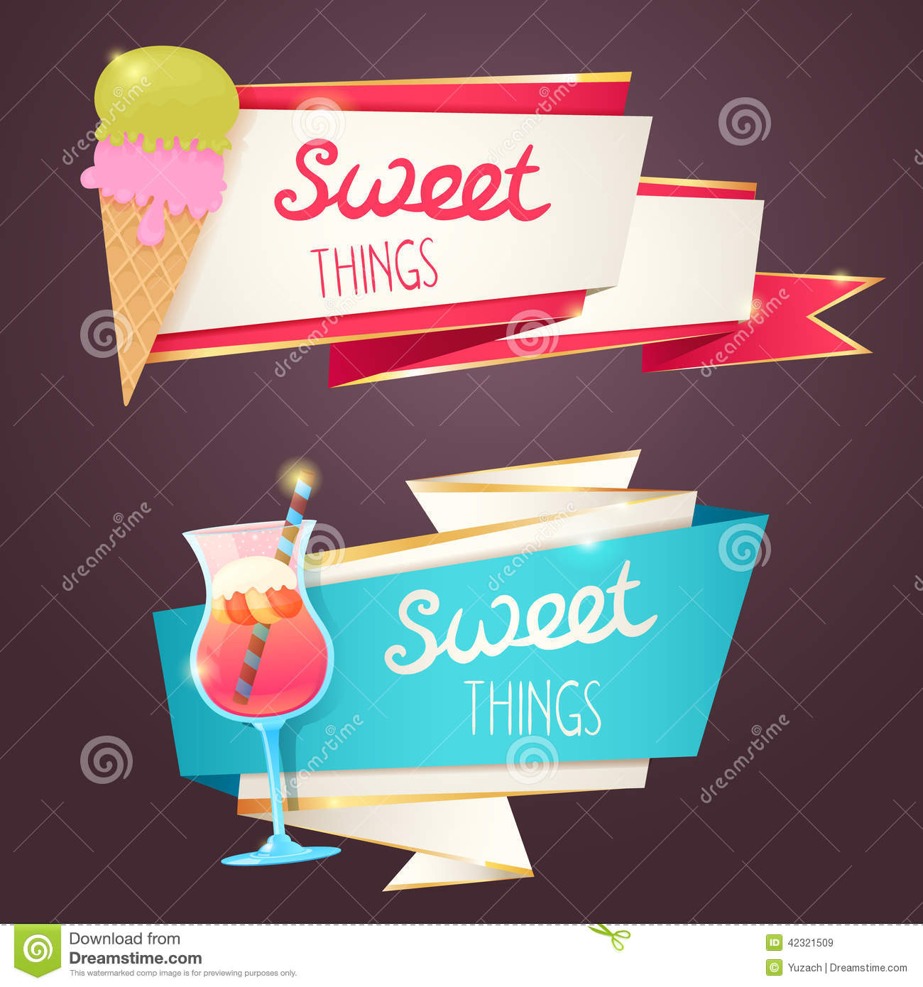 Ice Cream Background Sparking Shiny Decoration Free Vector: Delicious Sweet Set Of Glittering And Sparkling Banners