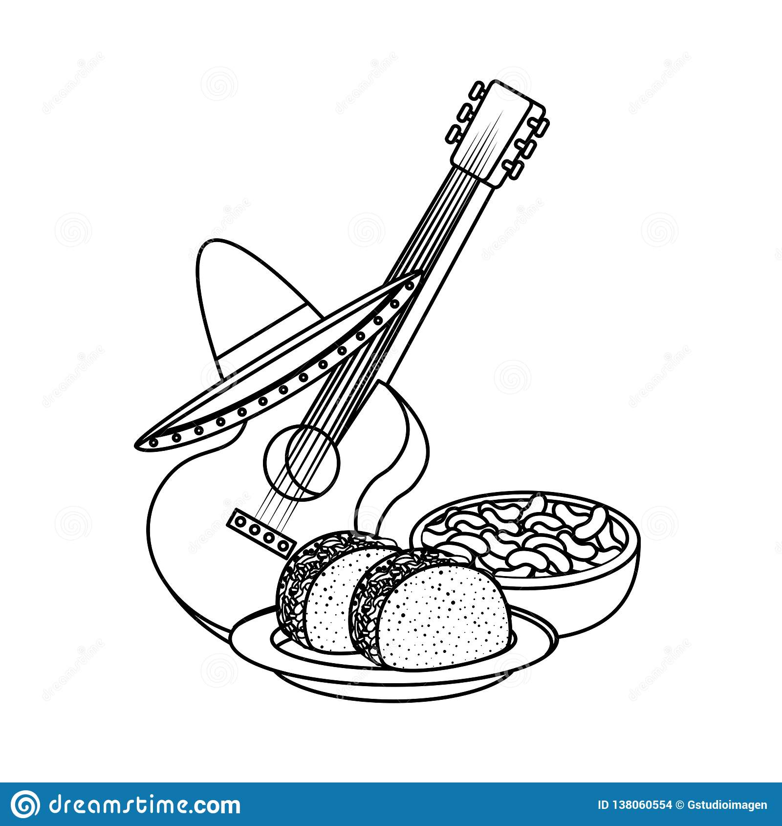 Delicious tacos with guitar and hat mexican food
