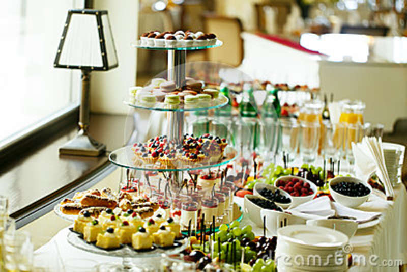 Delicious And Tasty Dessert Table At Wedding Reception Macaroons
