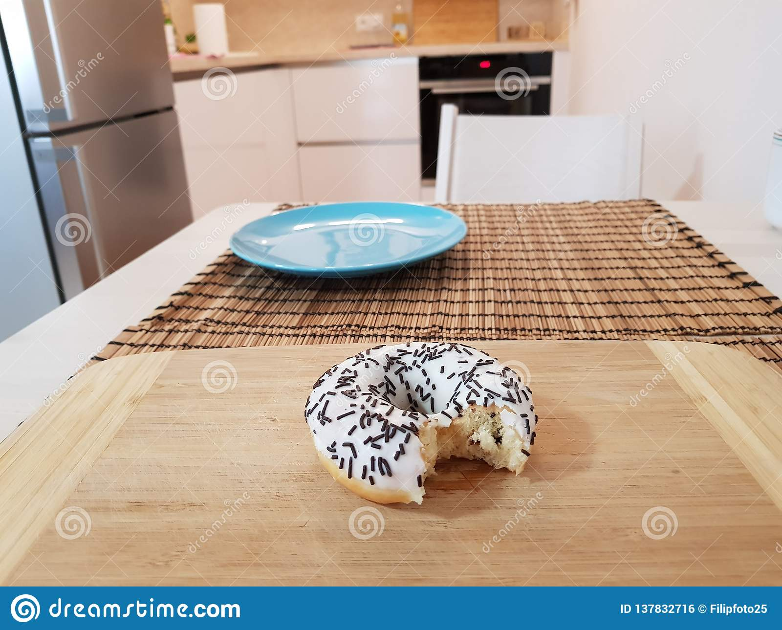 Eat The Donut Stock Photo Image Of Missing Cake Wood 137832716