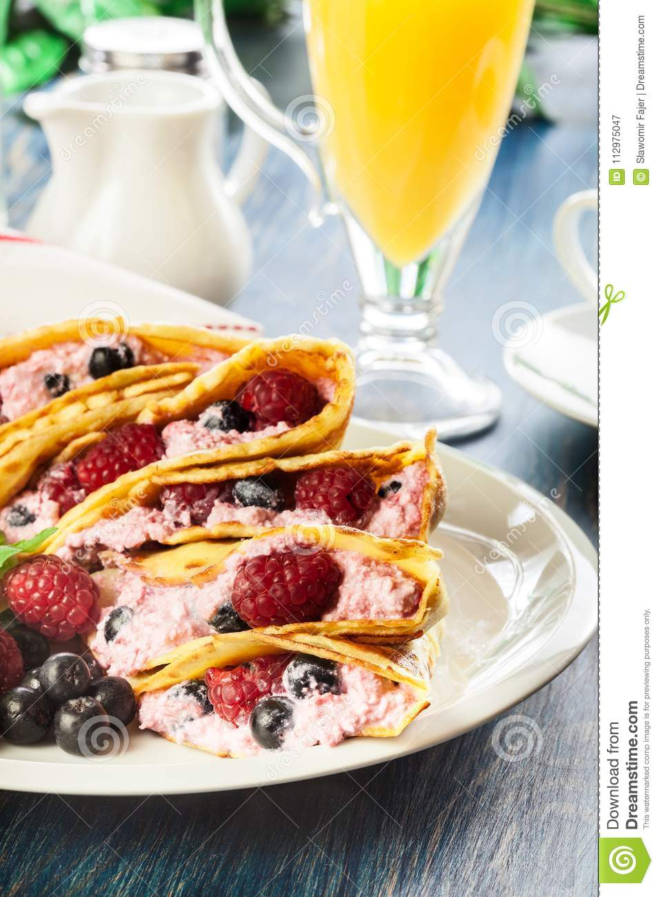 Delicious tasty homemade traditional crepes