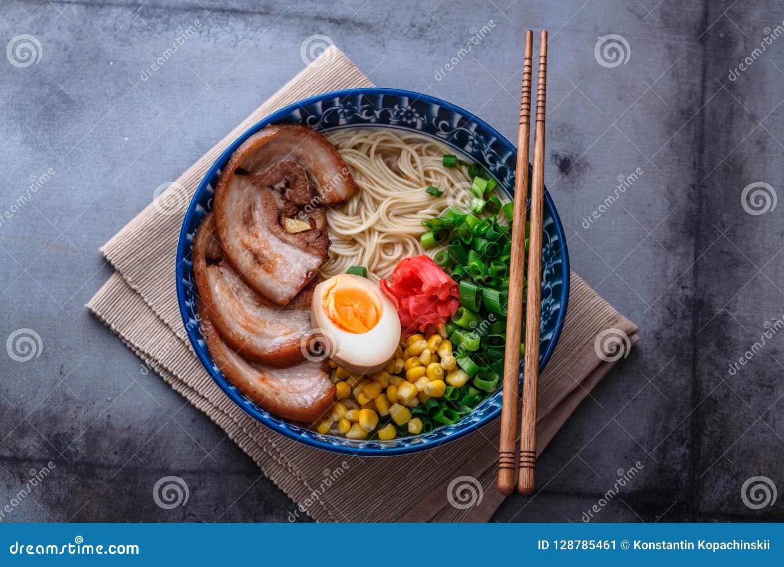 Delicious Tonkotsu Ramen, Pork Bone Broth Noodles, Copy