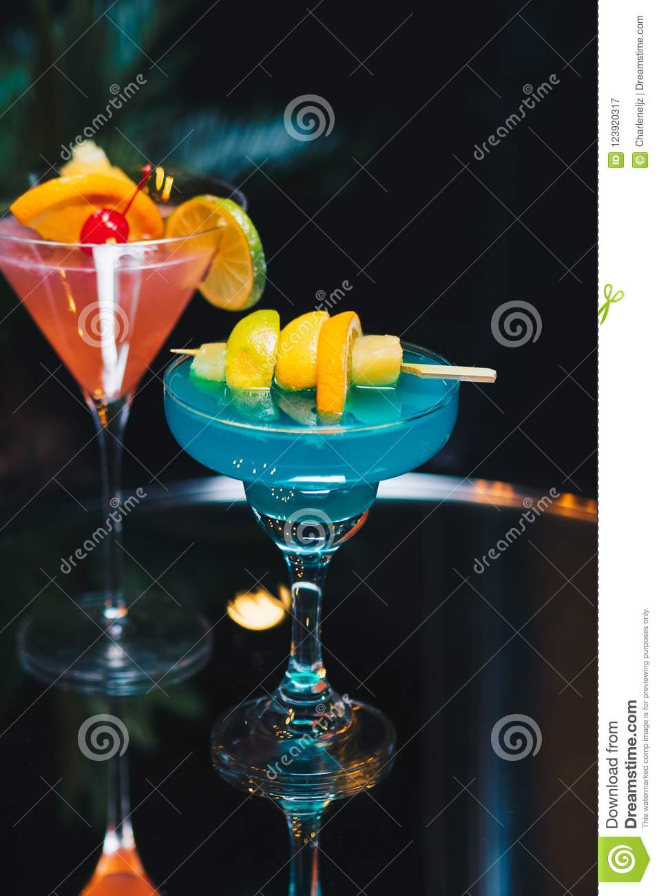 Blue and Red Pink Cocktail Drinks