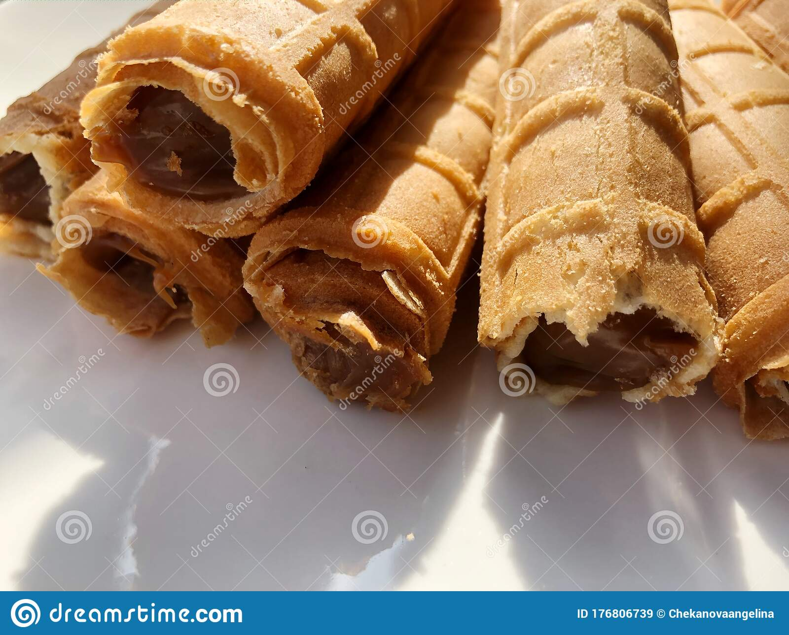 Delicious Waffle Tubes With Caramel For Breakfast Stock
