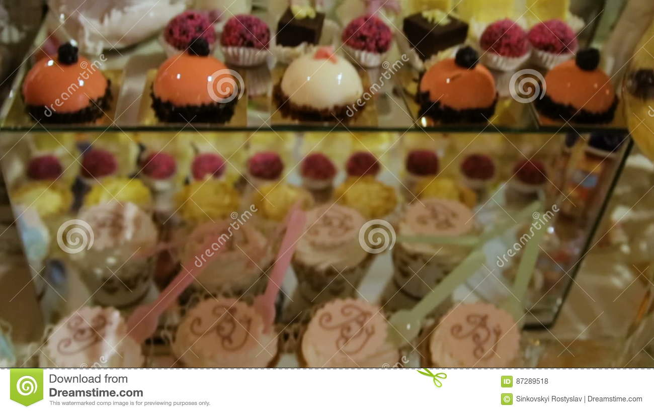 Delicious Wedding Reception Candy Bar Dessert Table Stock Footage