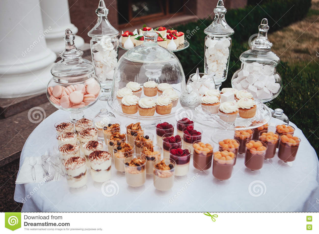 Delicious Wedding Reception Candy Bar Dessert Table Swetts Cupcakes Stock Photo