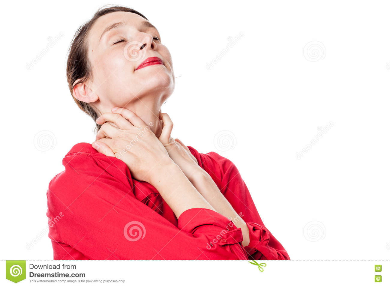 Delighted Beautiful Woman Closing Her Eyes For Relaxing Body