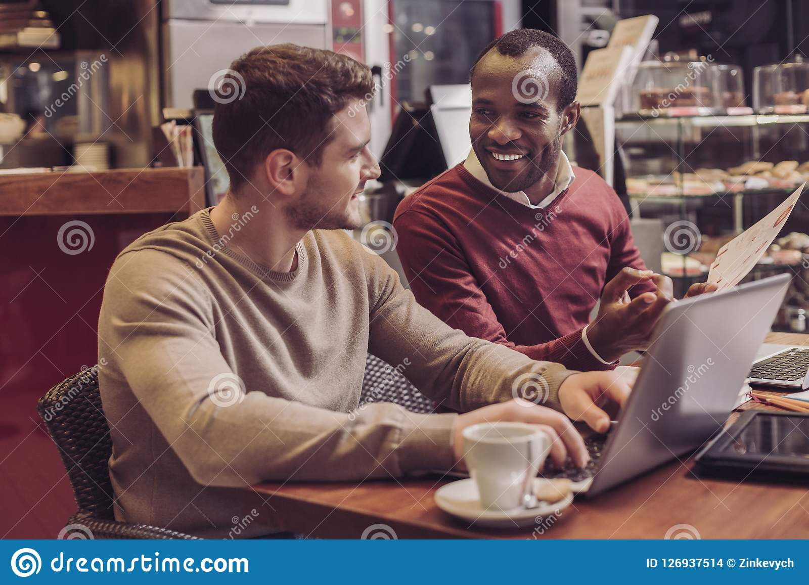 Delighted Friends Discussing Their Business Plan Stock Photo Image Of Graduation Interpersonal 126937514