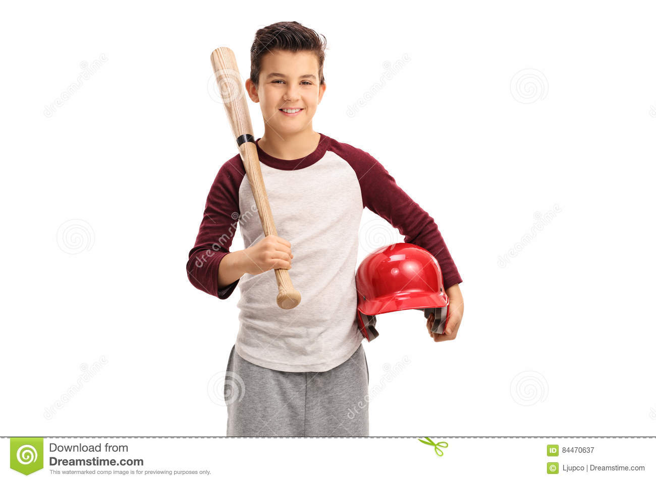 delighted kid with a baseball bat and a helmet stock photo image