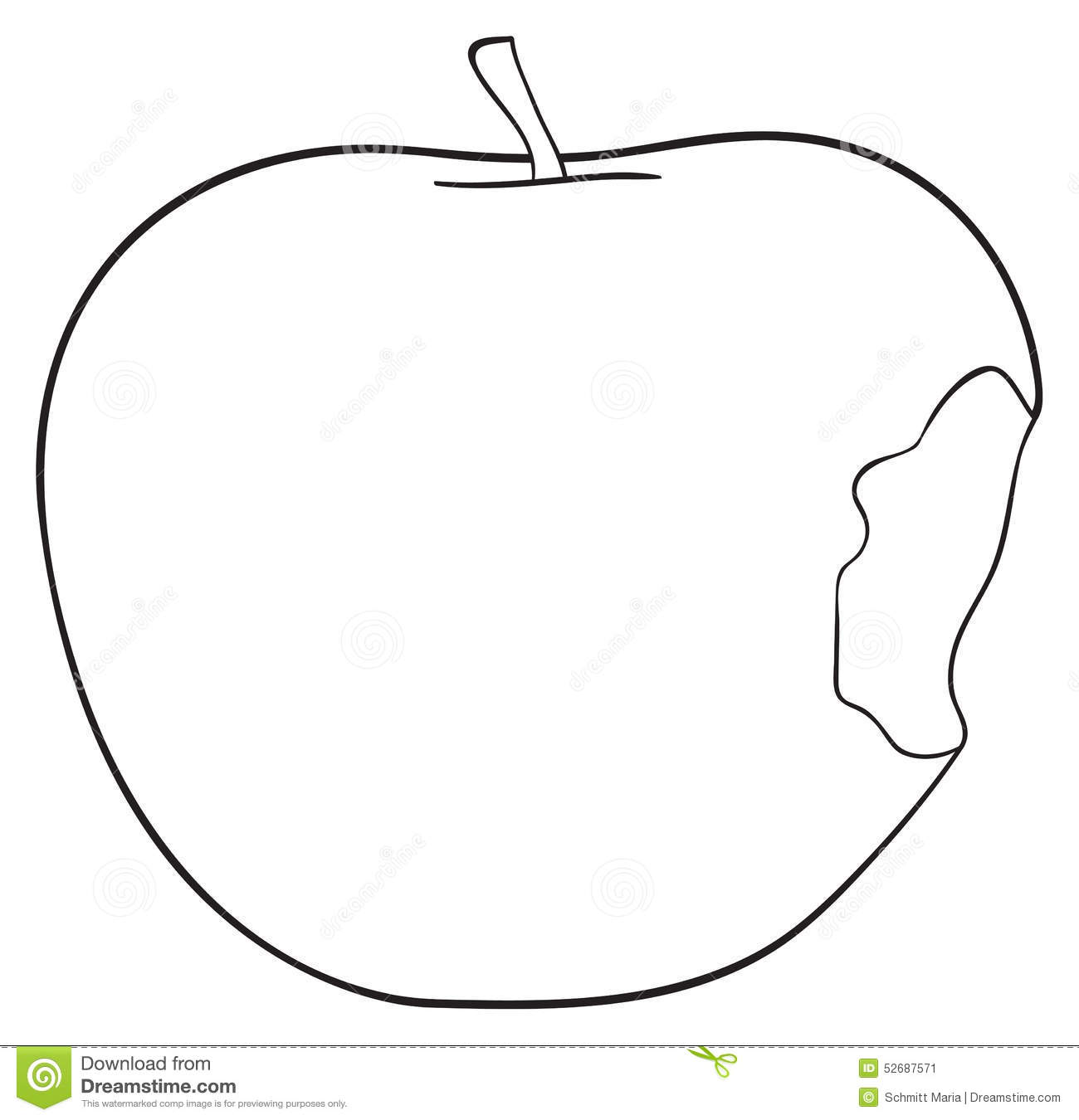 Line Drawing Apple : Delightful garden bitten apple with a stem stock
