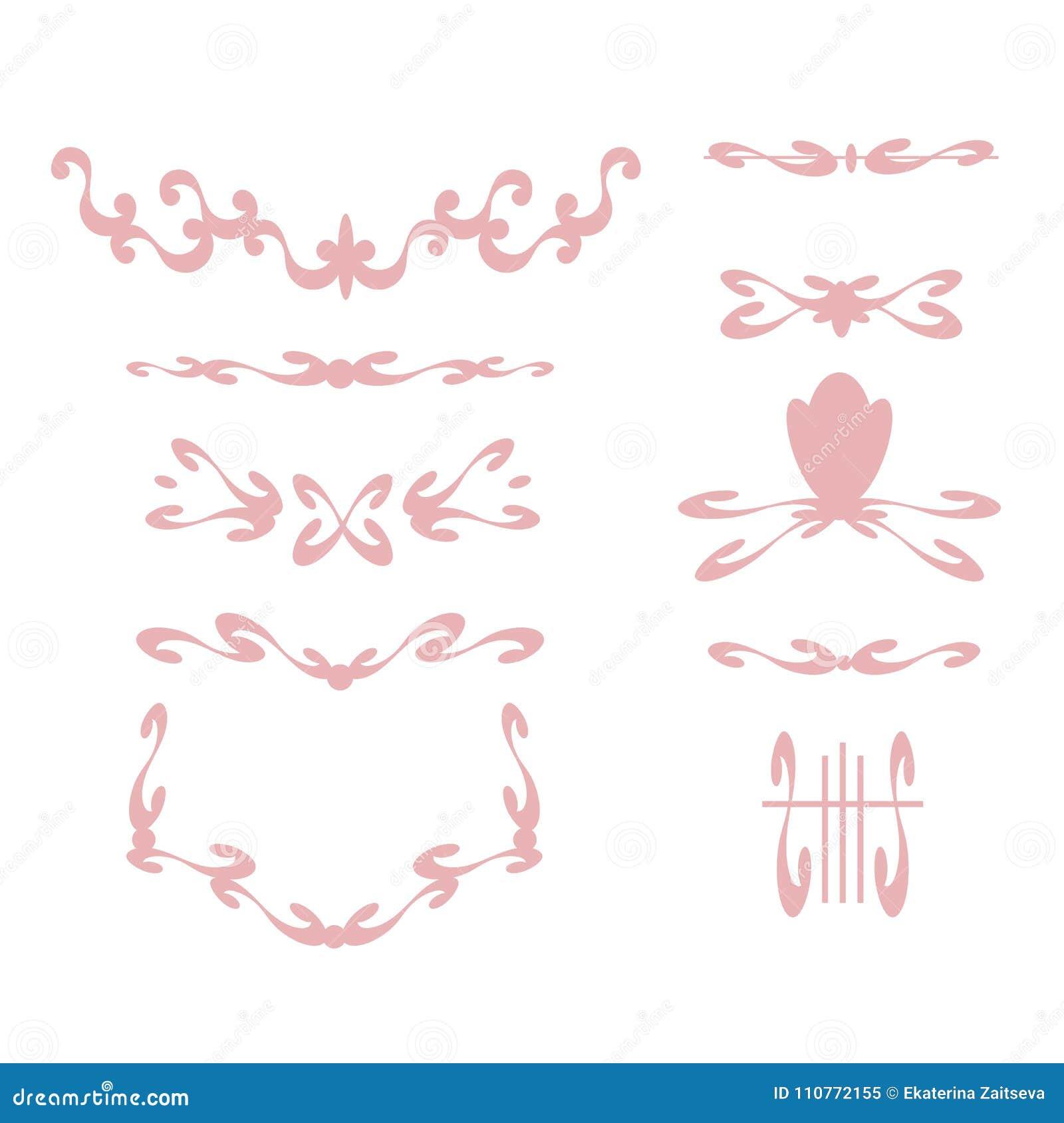 Delikata spensliga behagfulla rosa färger inramar och karaktärsteckningar med krullning