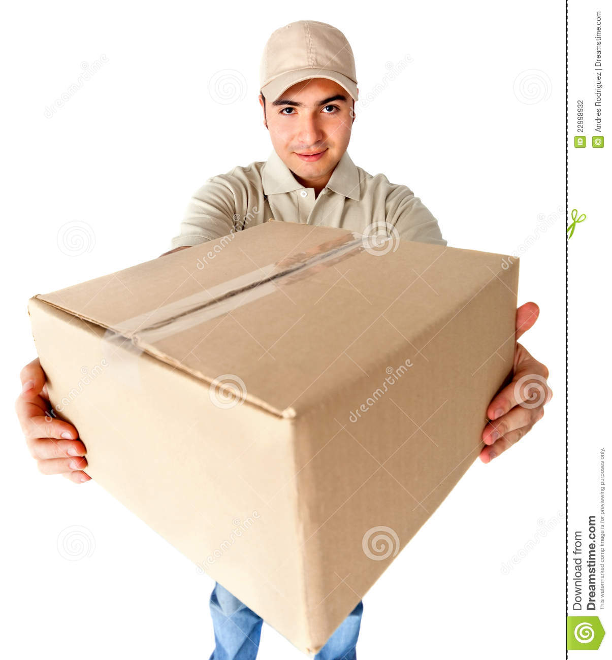 Flight And Car Packages: Delivering A Package Stock Photo. Image Of Post, Isolated