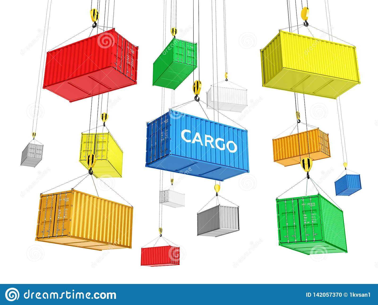 Delivery background concept Cargo shipping containers The crane lifts the containers on white background 3d