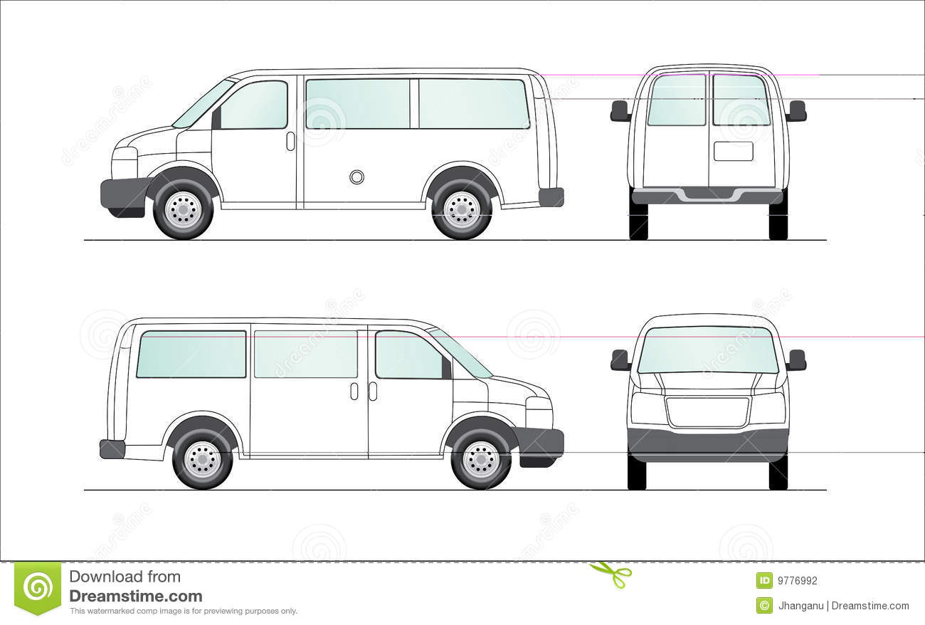 Delivery blank white van illustration