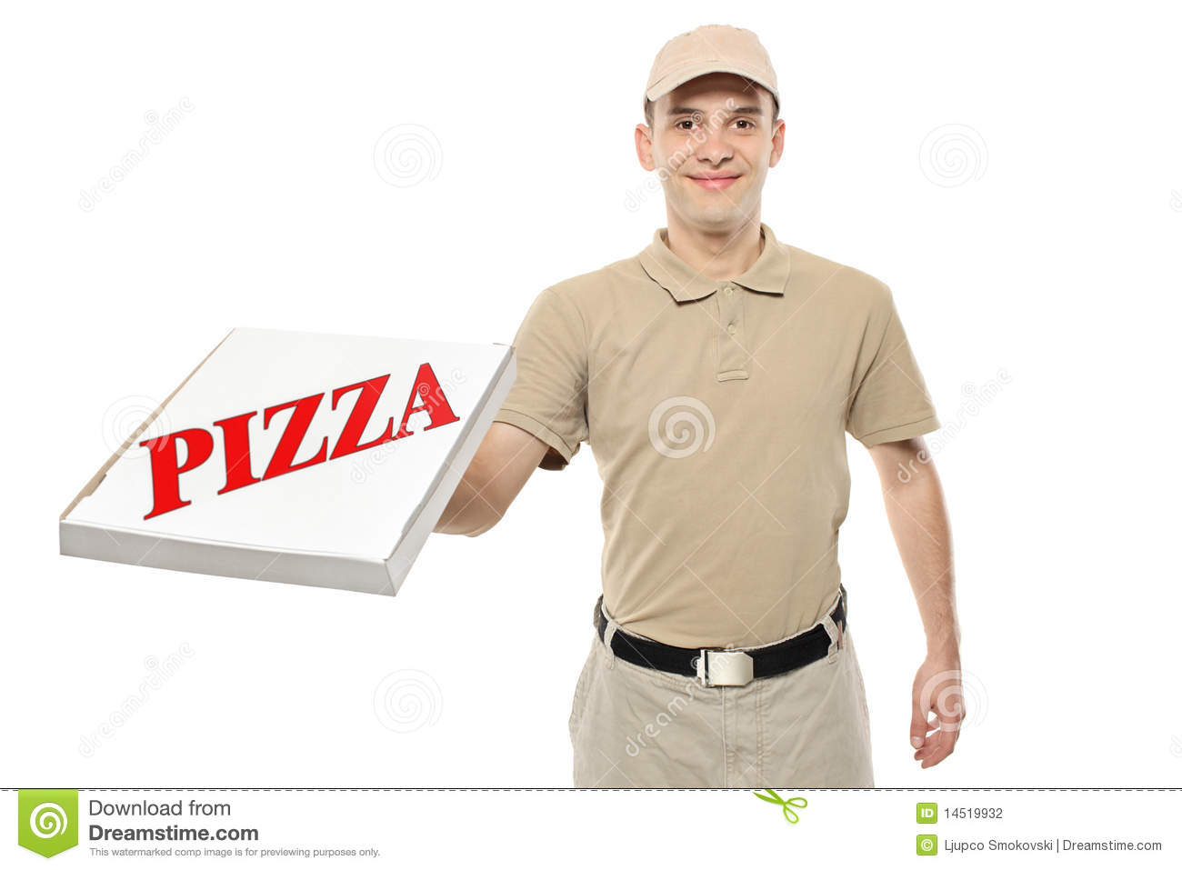 A Delivery Boy Bringing A Cardboard Pizza Box Stock