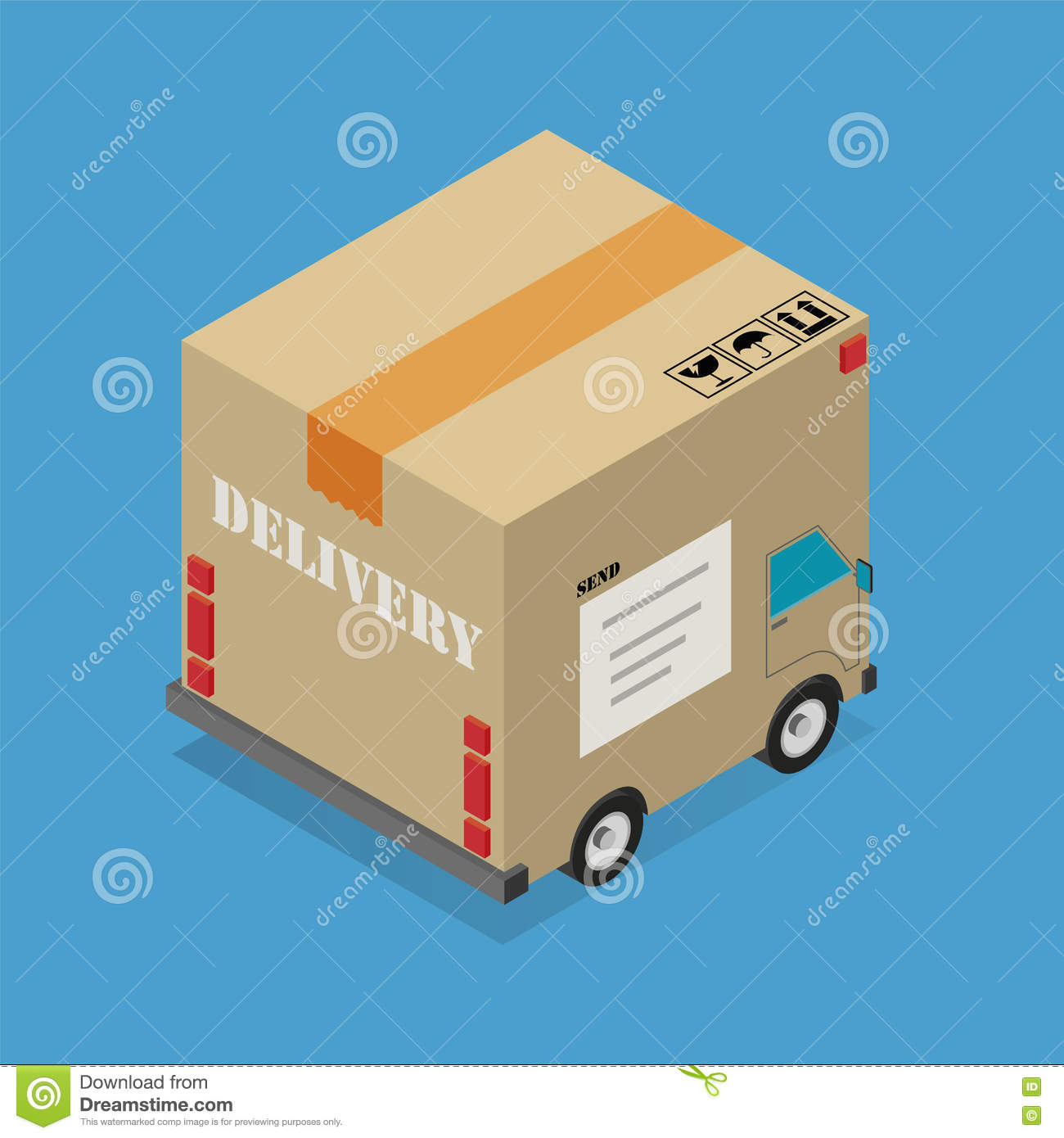 Delivery Cardboard Box Truck Stock Vector - Illustration of
