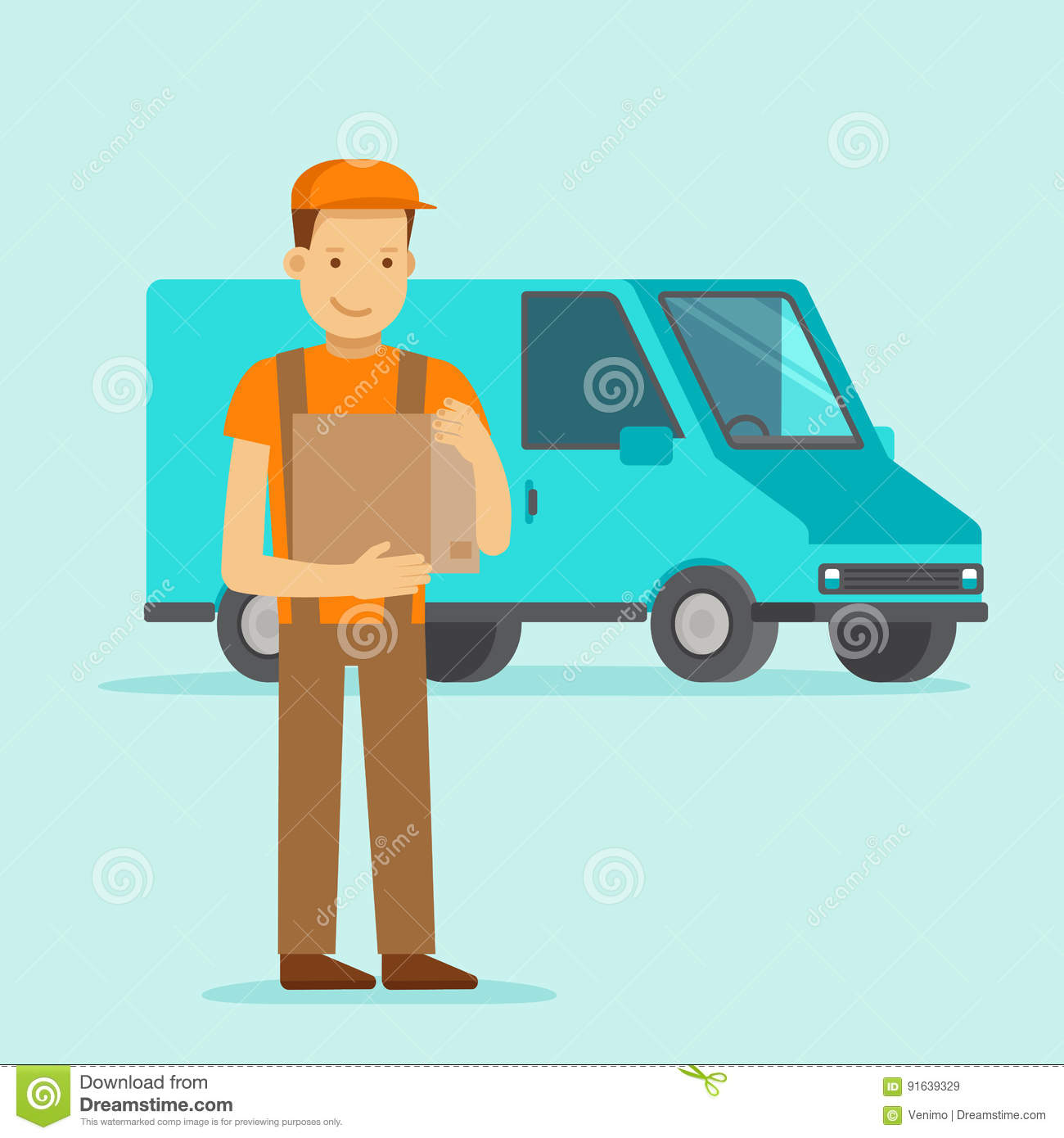 cf527cdba13 Vector illustration in flat style - delivery concept - truck and friendly  man with box from internet shop - fast shipping