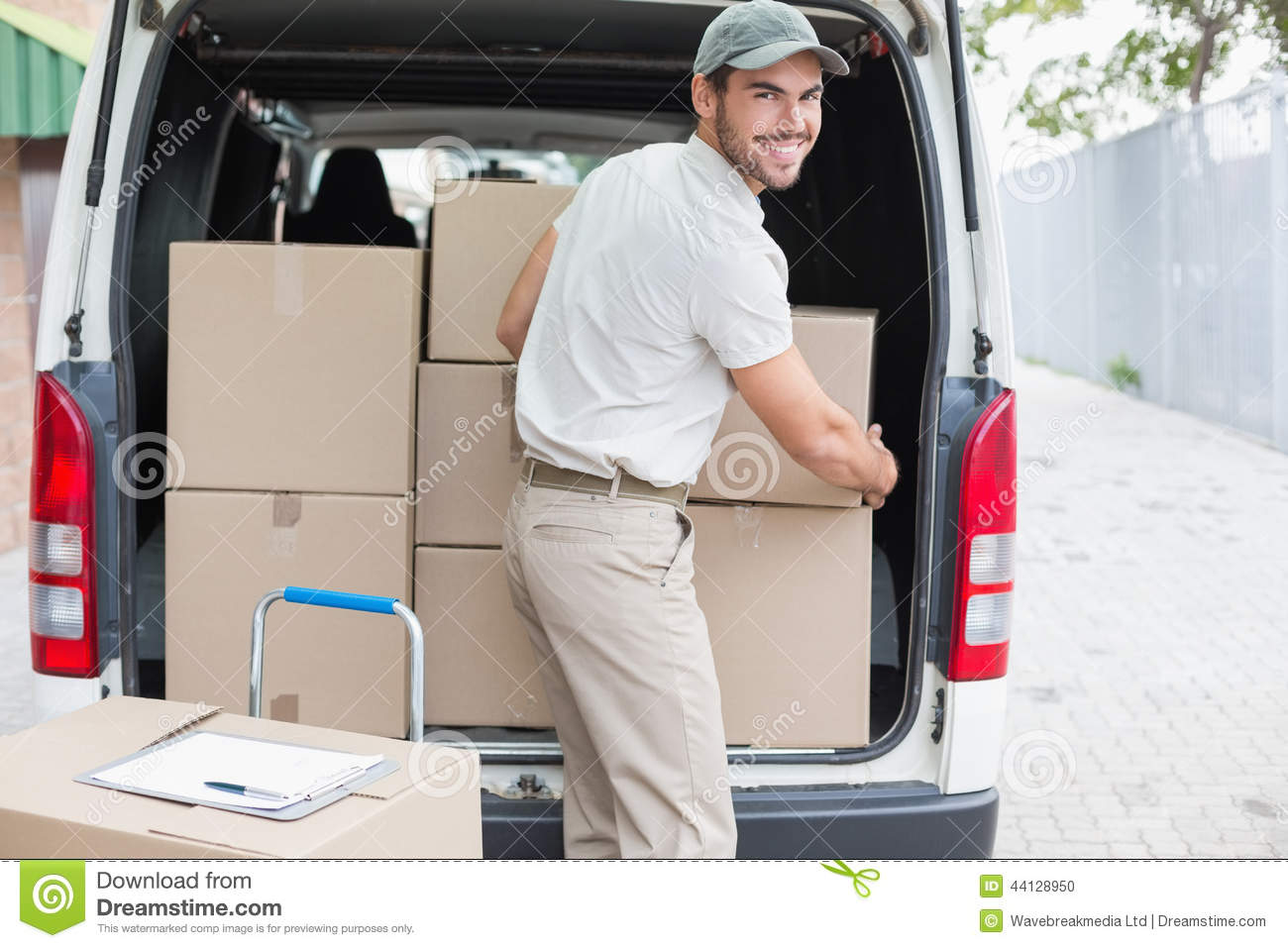 Delivery Driver Loading His Van With Boxes Stock Photo - Image ...