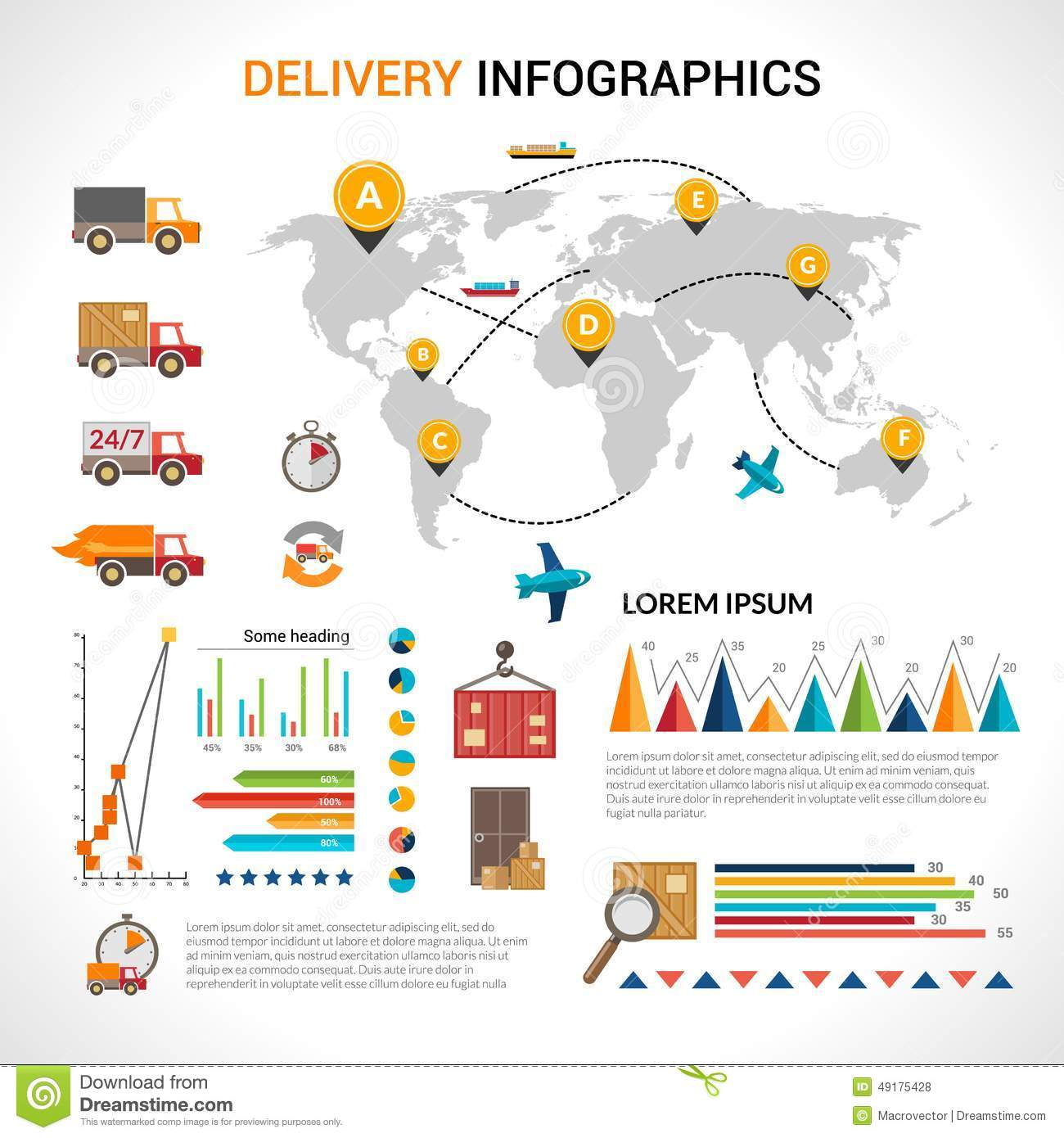 Delivery flat infographics set stock vector illustration of logistic chain shipping freight service supply delivery infographics set with charts and world map vector illustration gumiabroncs Choice Image