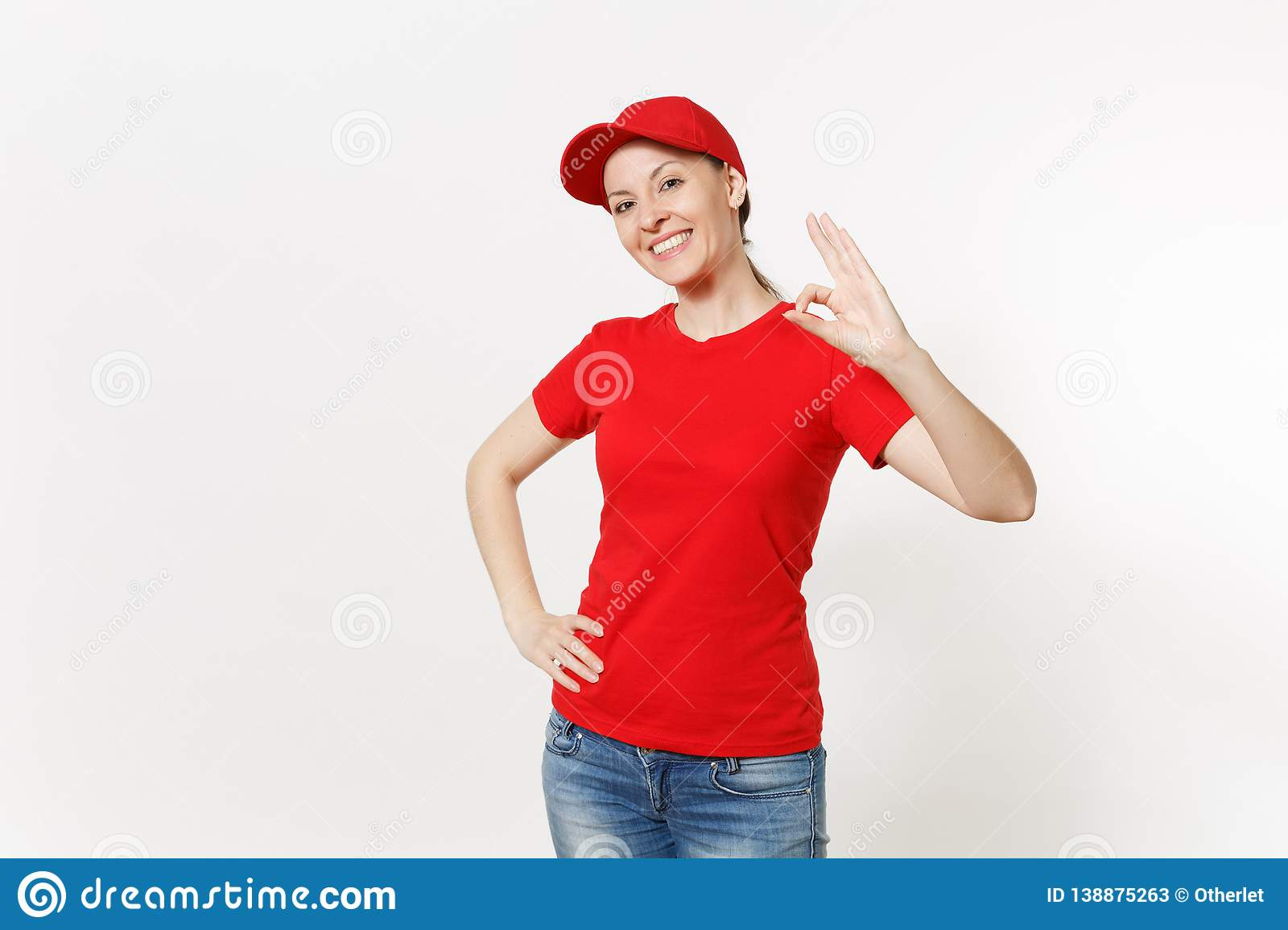 Delivery friendly woman in red uniform isolated on white background. Professional caucasian female in cap, t-shirt