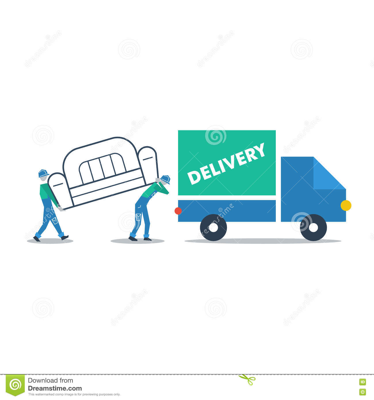 Delivery Furniture, Truck Transportation Stock Vector