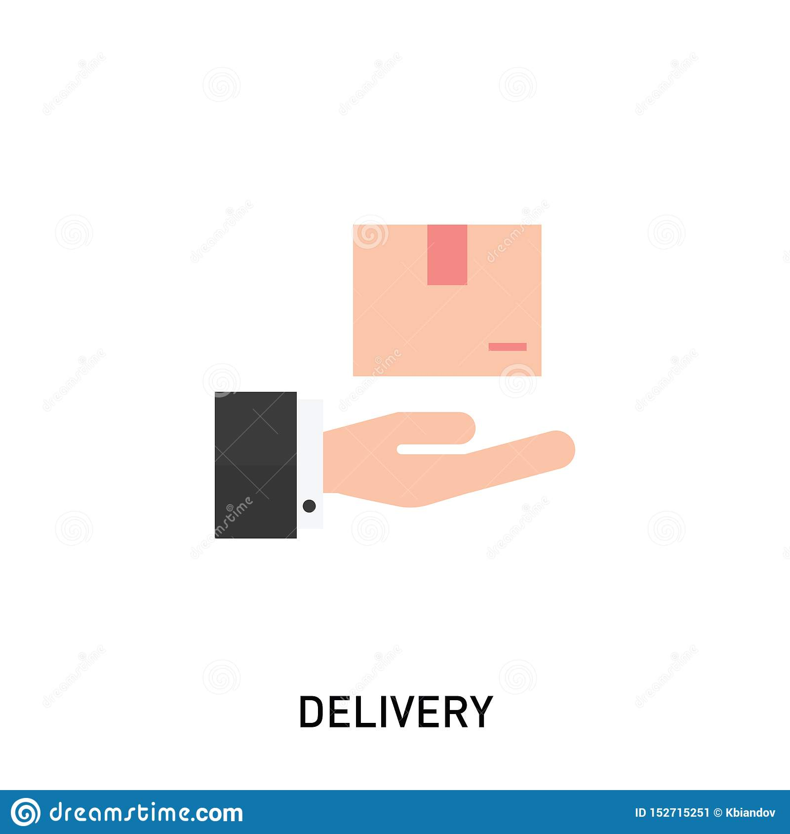 Delivery icon. Hand holding a box. Vector illustration in modern flat style.