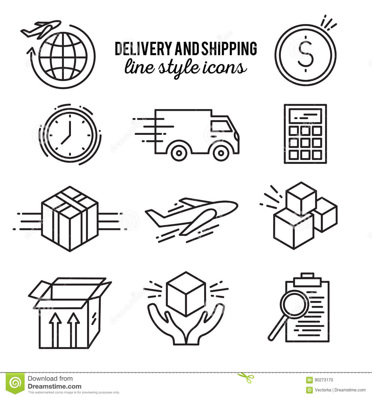 Delivery Line Style Icon Set Stock Vector - Illustration of