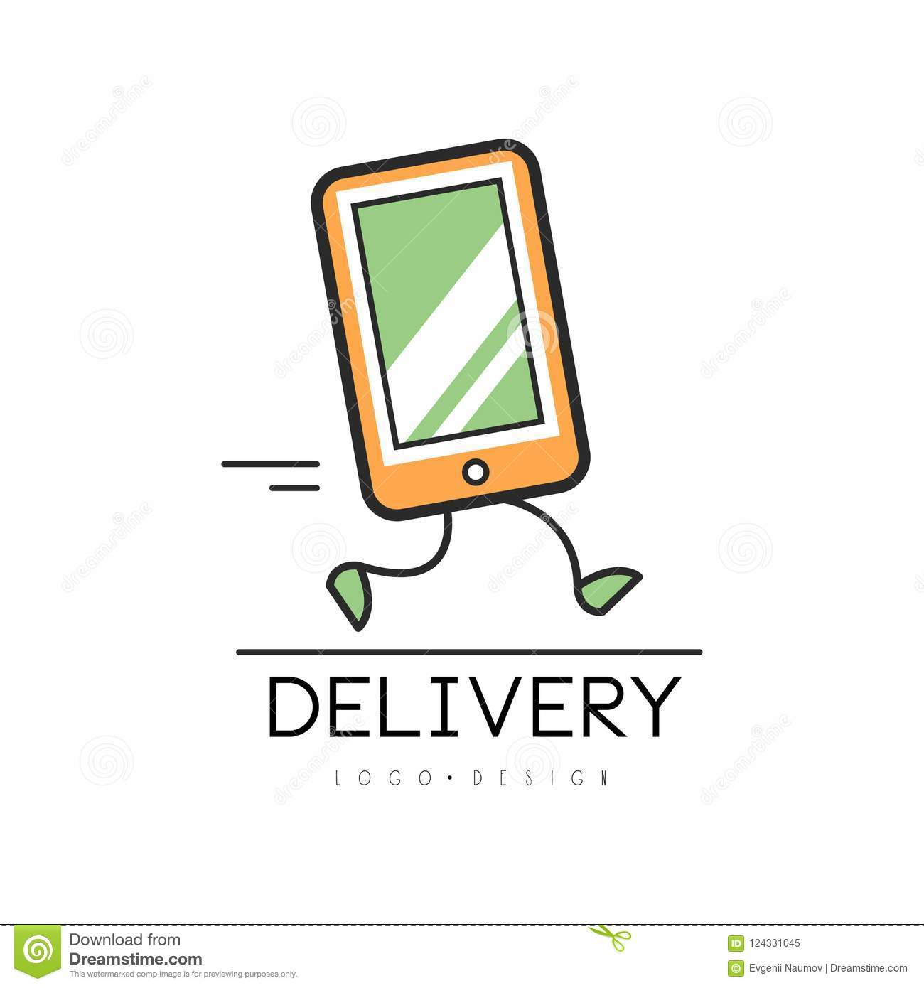 delivery logo design creative template with running tablet pc for