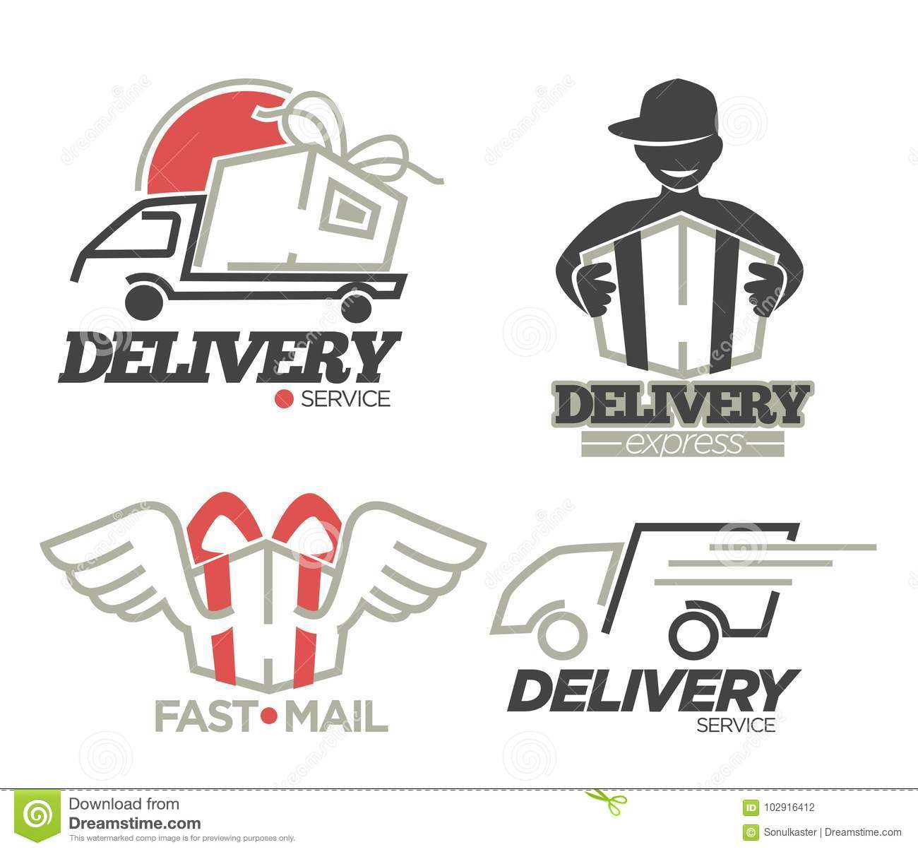 Delivery Logo Templates Set For Post Mail, Food Or Onlne