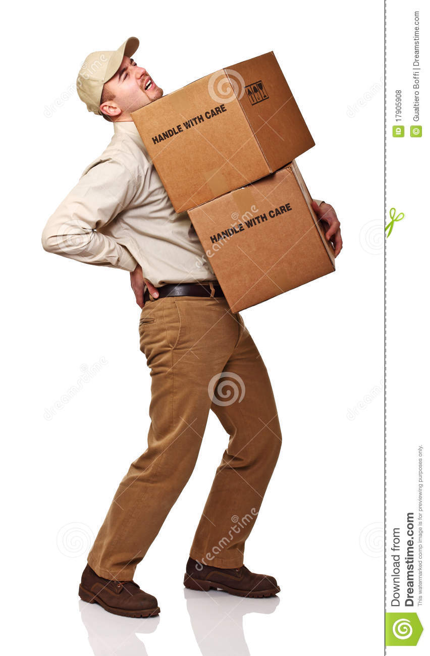 Delivery man with back pain