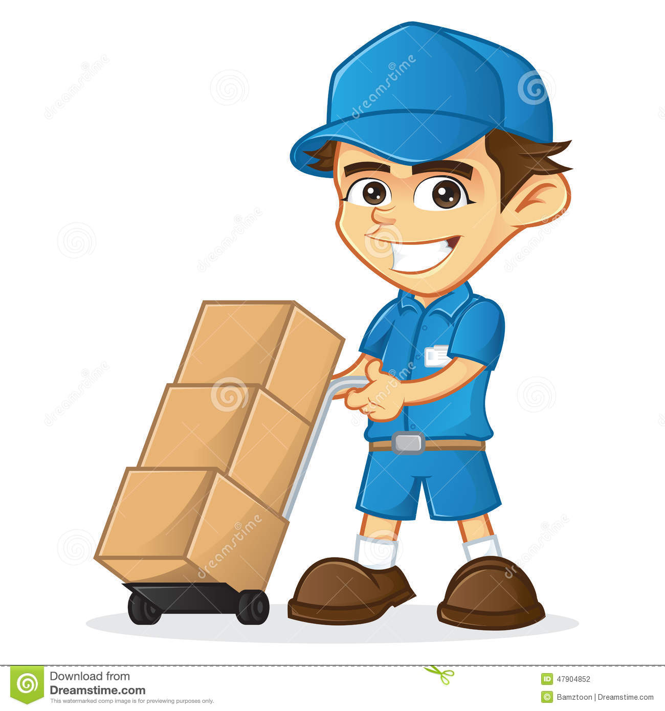 Delivery Man With Trolley Stock Vector Illustration Of Handling 47904852