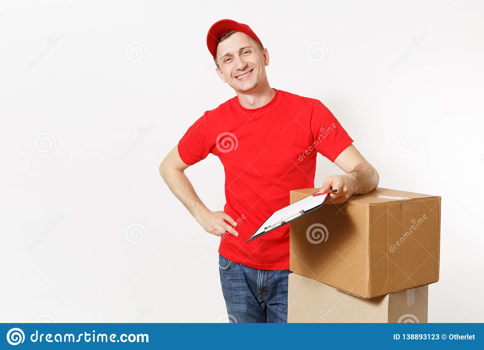 c14e4bbd Delivery man in red uniform isolated on white background. Male courier in  cap, t-shirt holding pen, clipboard with papers document, blank empty  sheet, ...