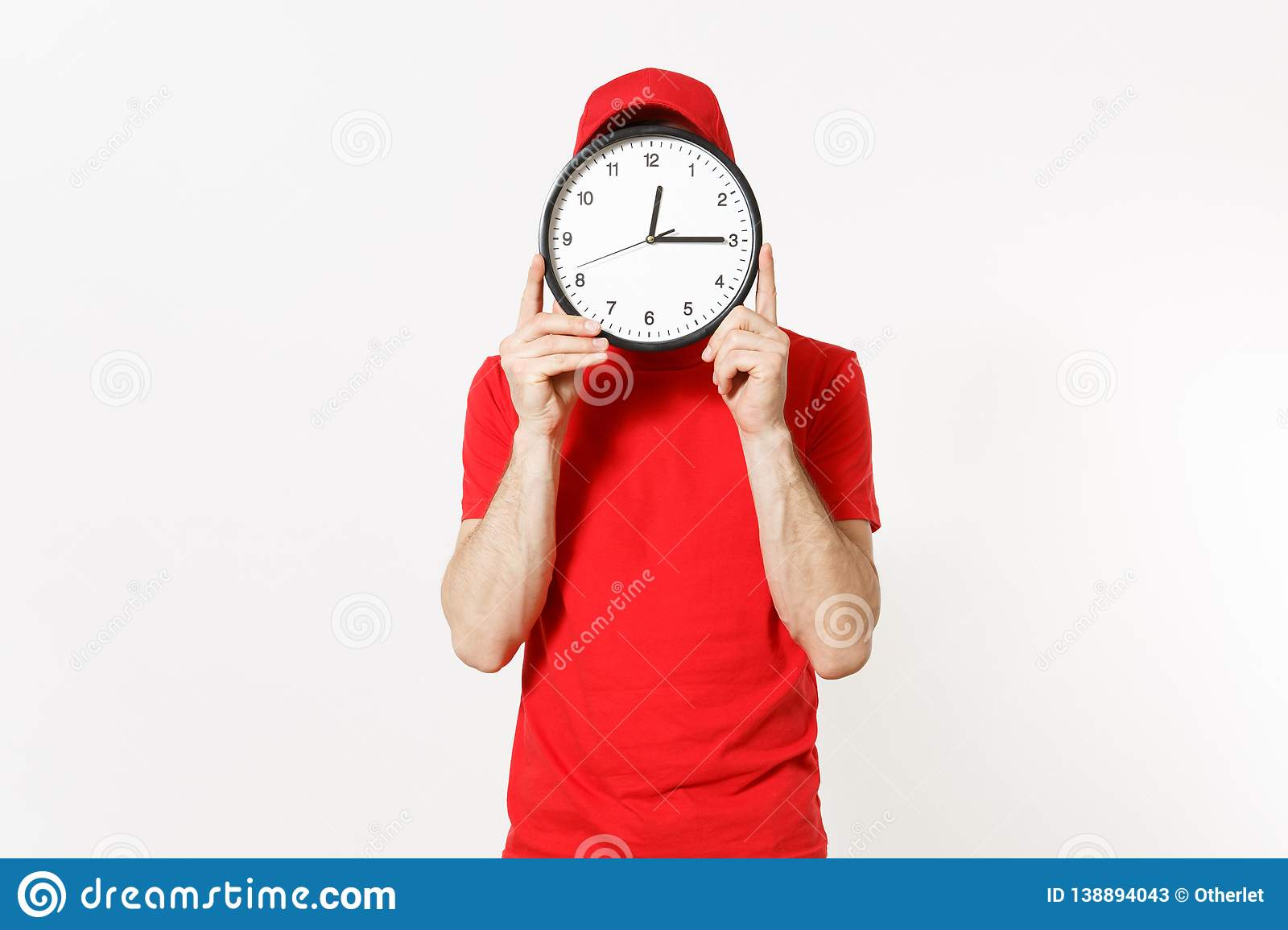 Delivery man in red uniform isolated on white background. Professional male in cap, t-shirt, jeans working as courier or
