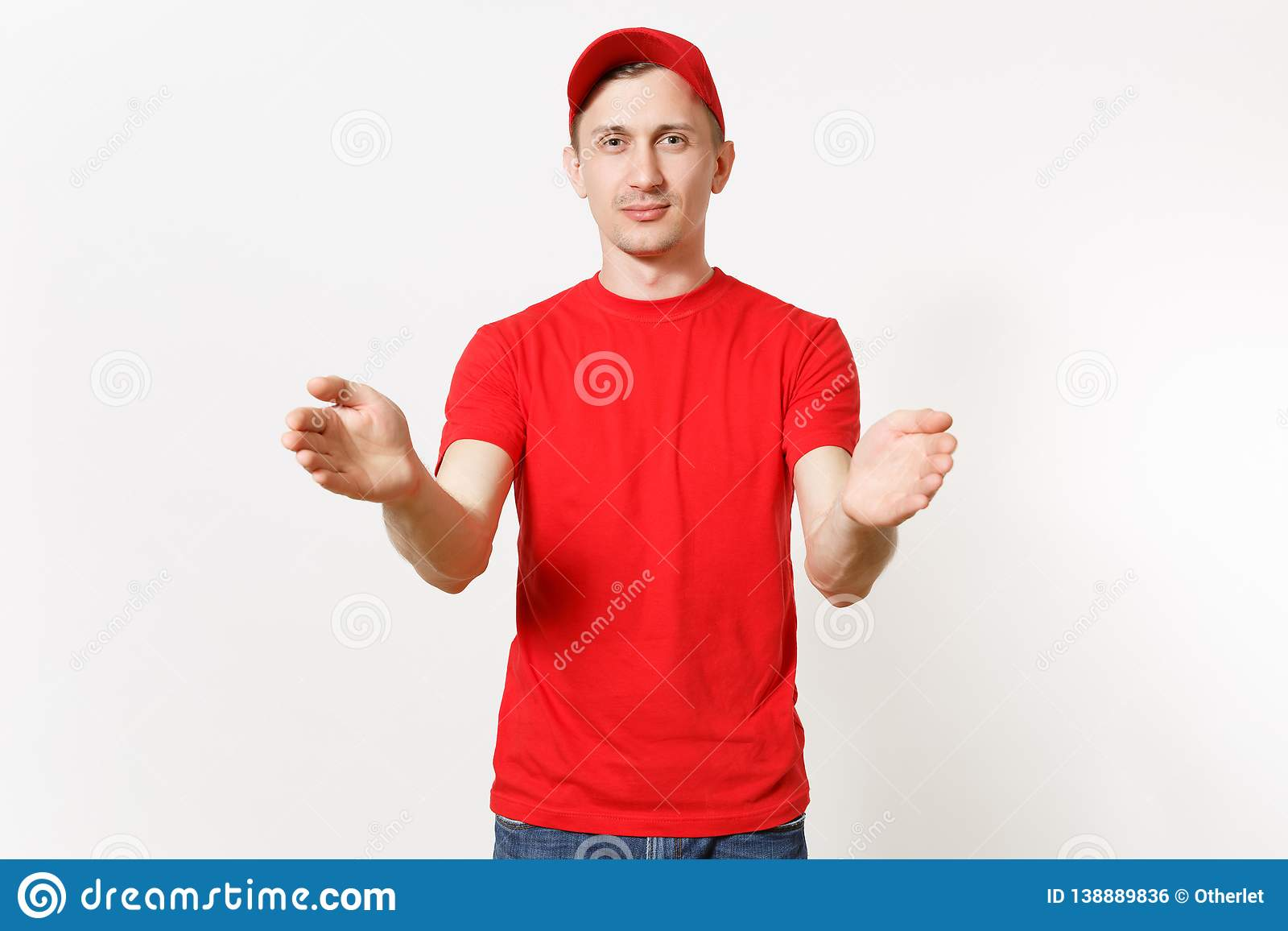Delivery man in red uniform isolated on white background. Professional male in cap, t-shirt working as courier or dealer