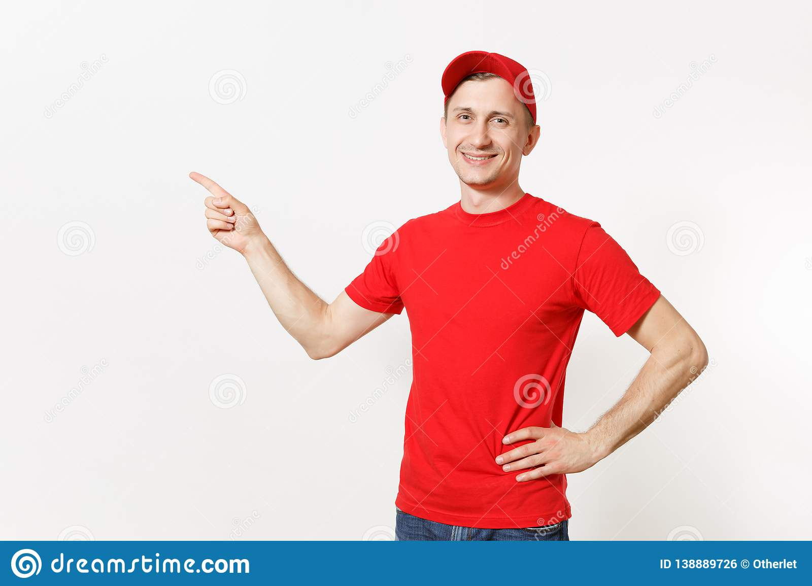 Delivery man in red uniform isolated on white background. Professional smiling male in cap, t-shirt working as courier