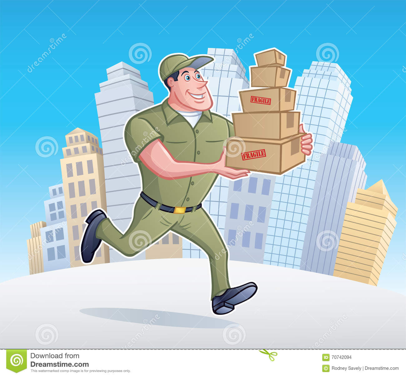 Delivery Man Running With Packages Stock Illustration