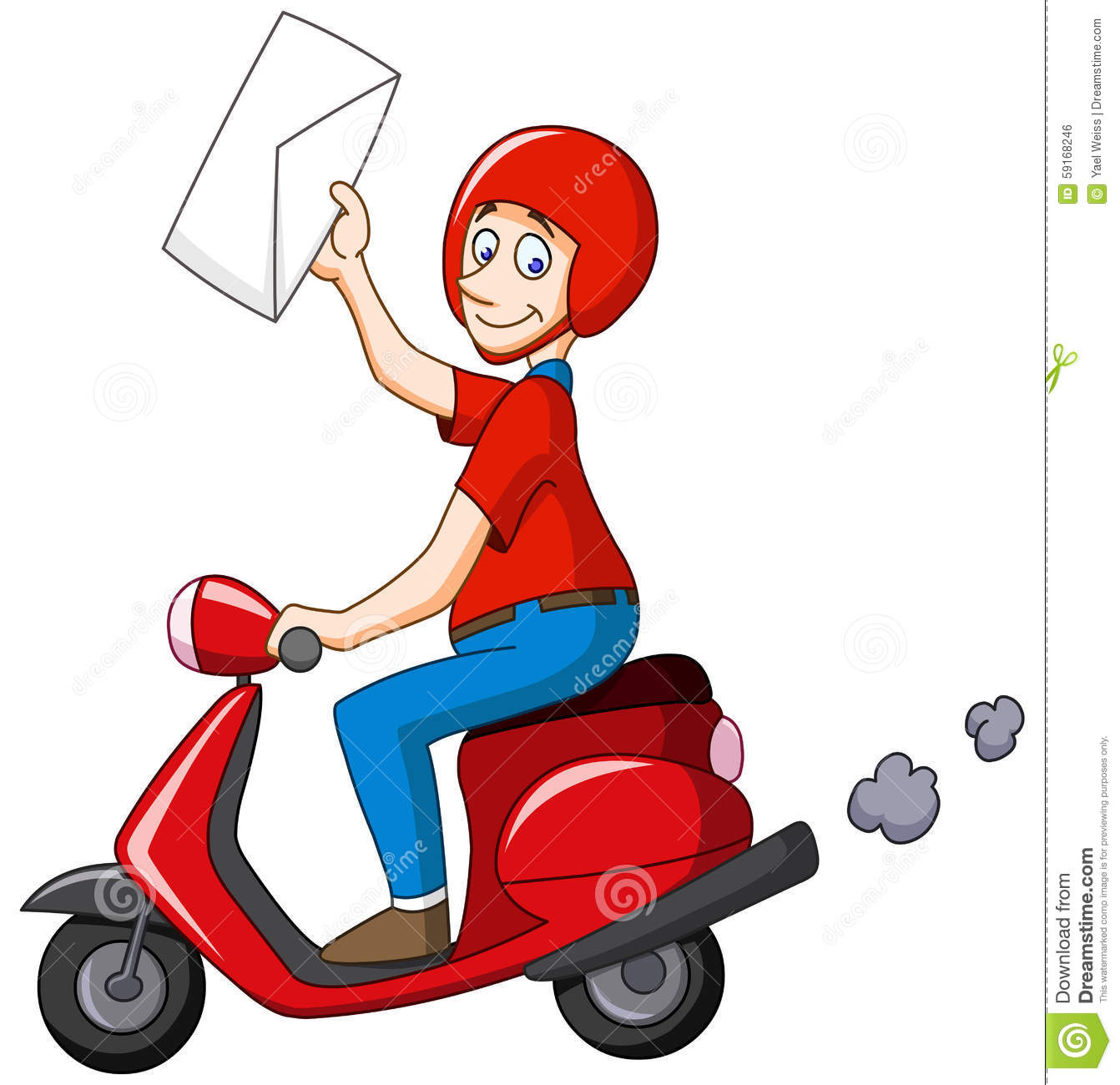 delivery man on scooter stock vector illustration of