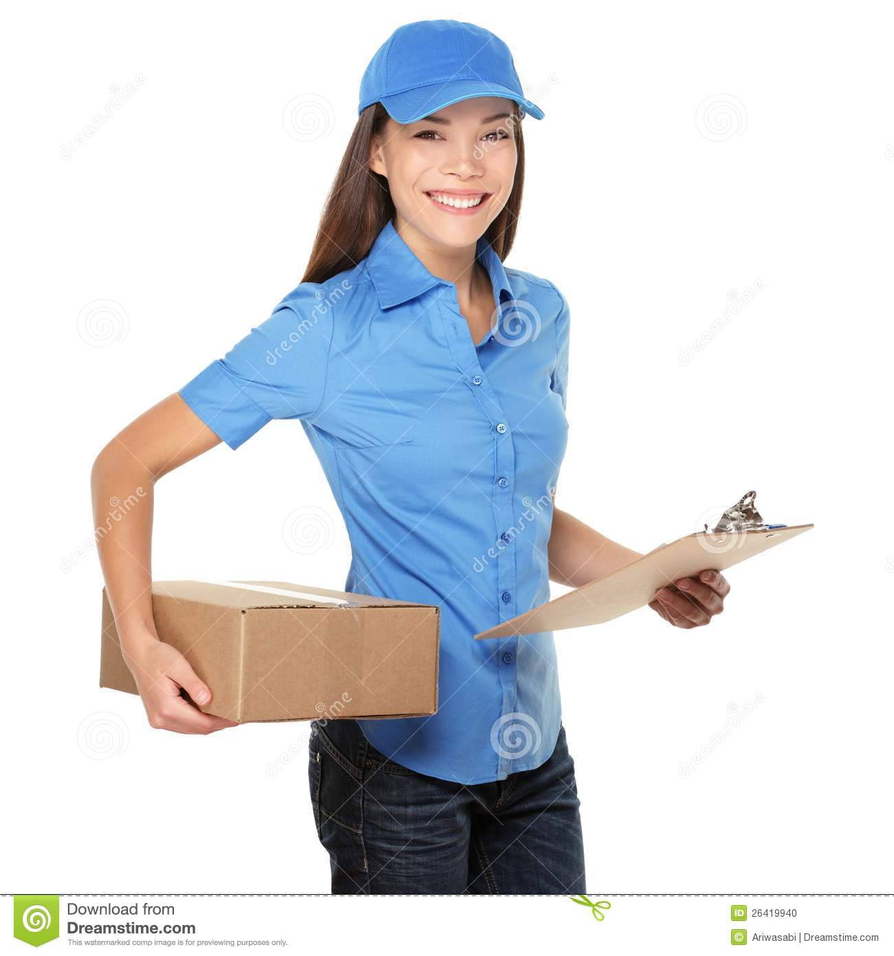 Delivery Person Delivering Package Stock Photo - Image: 26419940