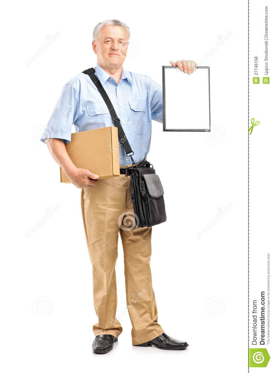 Delivery Person Holding A Clipboard And Box Royalty Free Stock ...