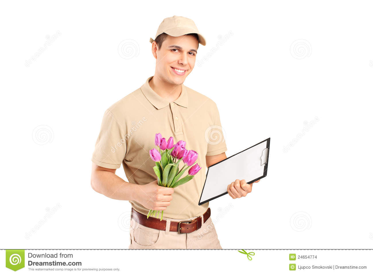 Delivery Person Holding A Clipboard And Flowers Stock Images ...