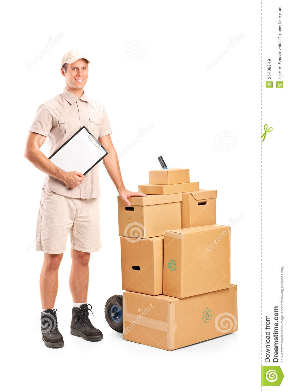 Delivery Person Holding A Clipboard And Hand Truck Royalty