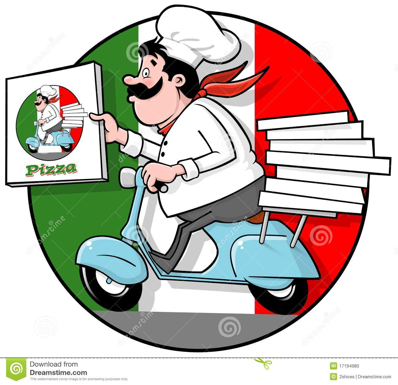 Illustration of a cartoon italian chef with the delivering a perfect ...
