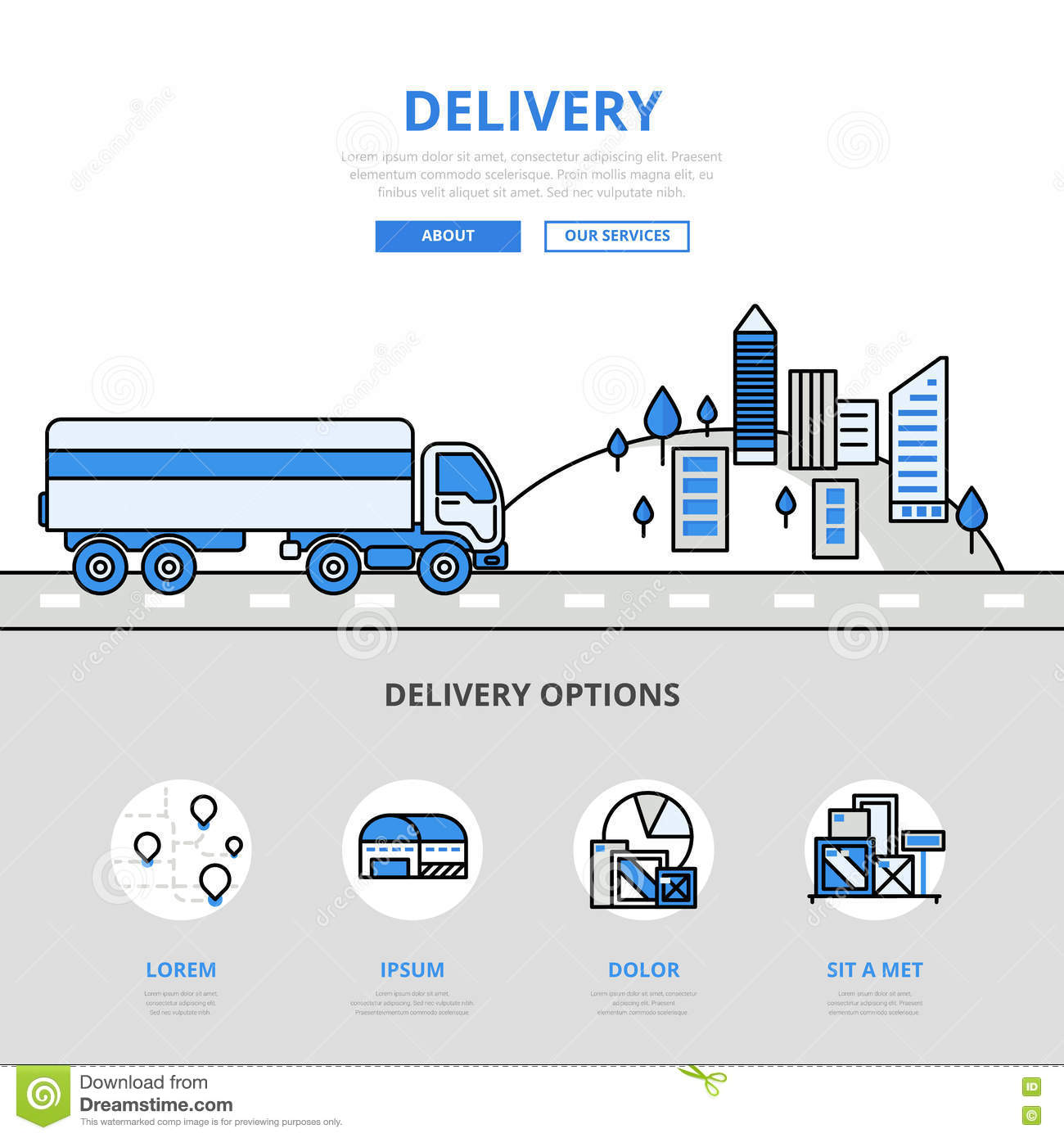 Line Drawing Website : Delivery road transport banner line art vector icons