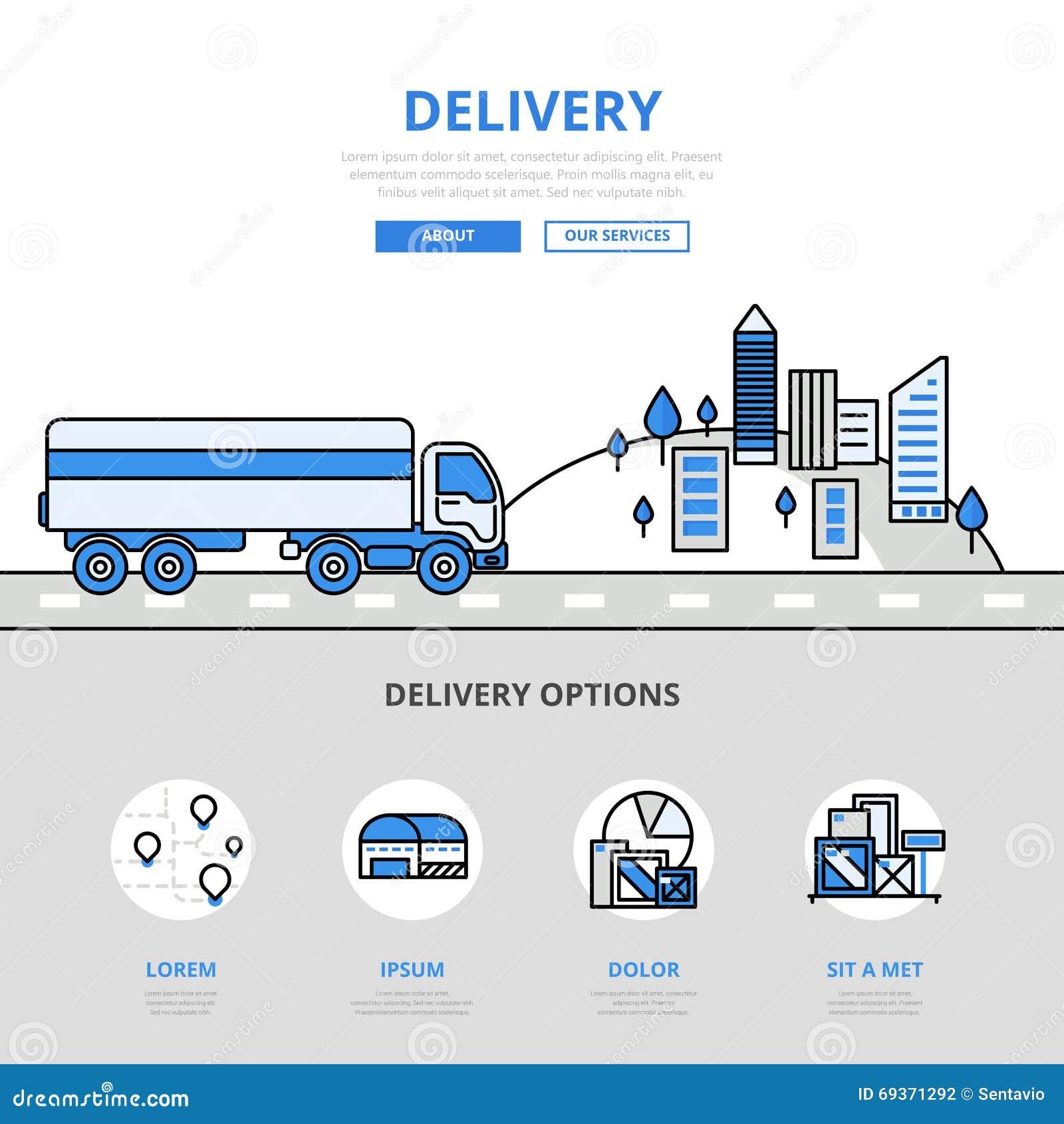 Line Art Website : Delivery road transport banner line art vector icons