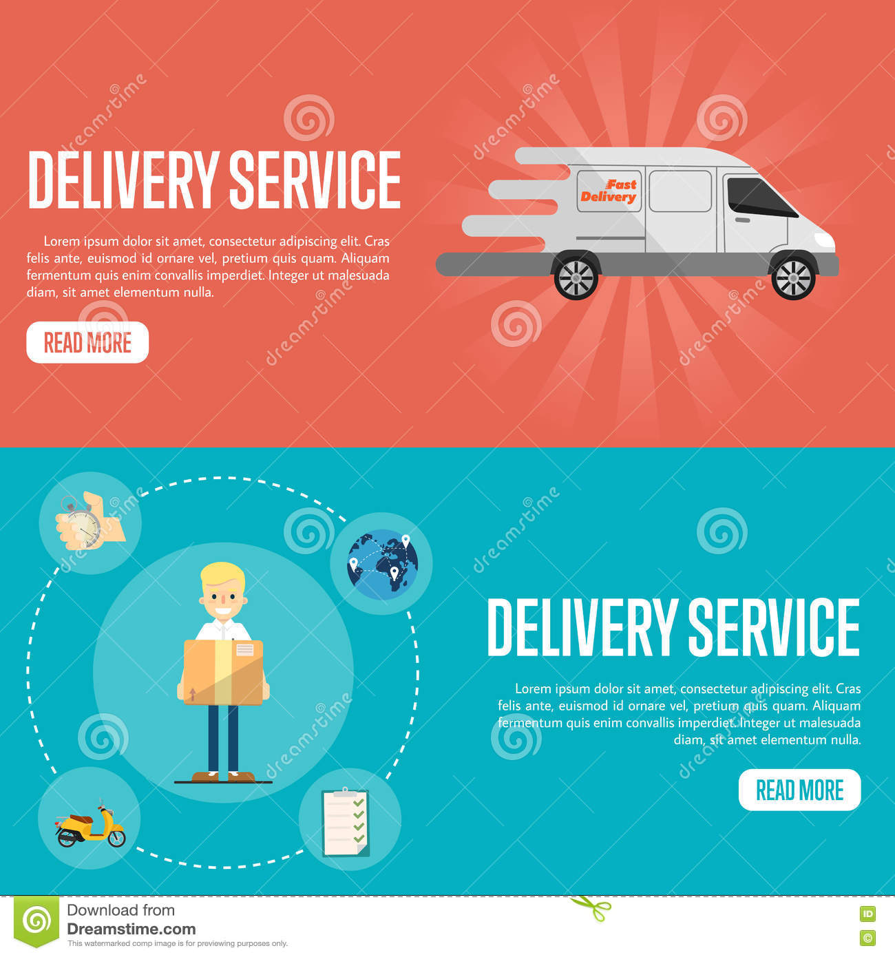 delivery service horizontal website templates stock vector image
