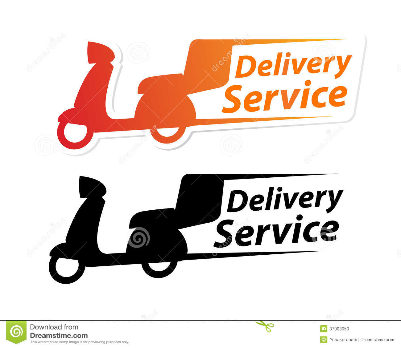 Vector illustration of delivery service sign in color and black and
