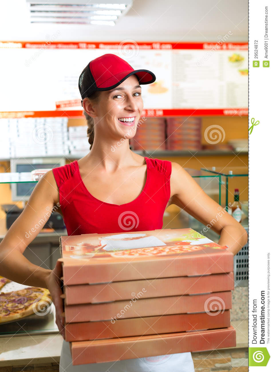 Delivery Service - Woman Holding Pizza Boxes Stock Photo ...