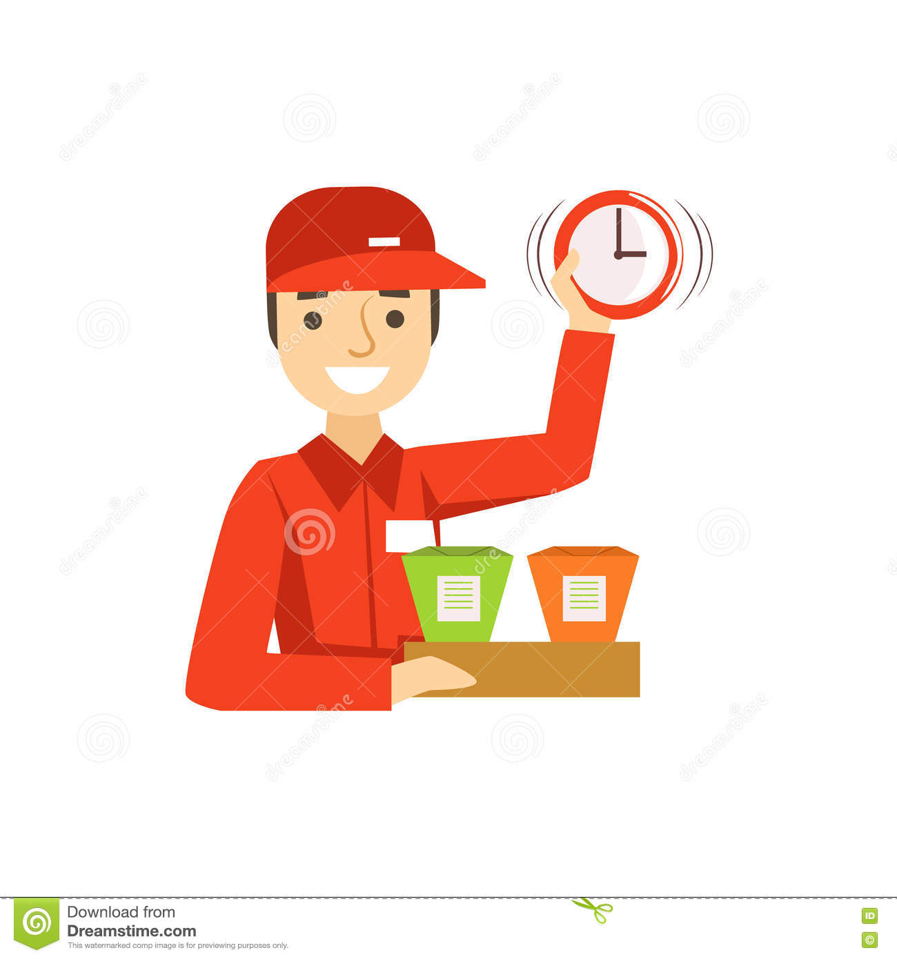 Delivery Service Worker In Red Uniform Holding Packed Wok